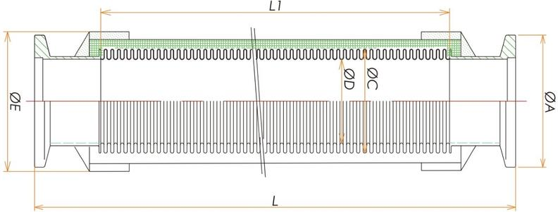 NW16ブレード付フレキシブルチューブL=1000 寸法画像