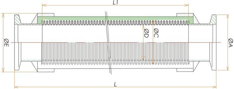 NW50ブレード付フレキシブルチューブL=1000 寸法画像