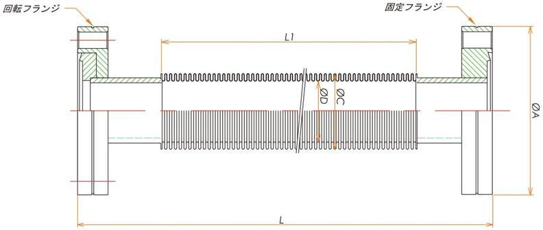 ICF70フレキシブルチューブ 片側回転 L=1500 寸法画像