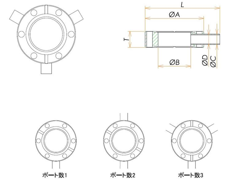 ICF70 ラジアルポートフランジ TA1/4X1 寸法画像
