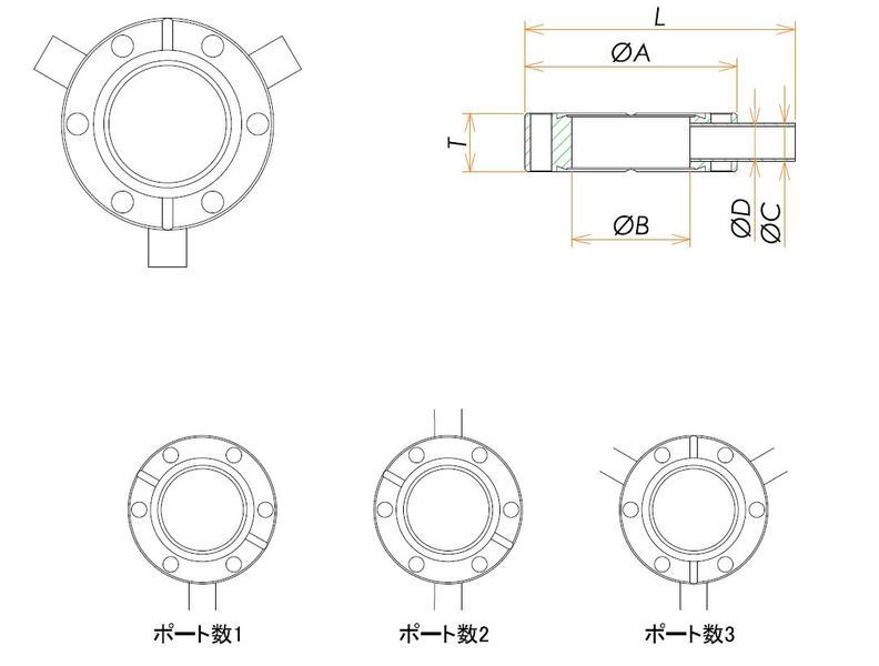 ICF70 ラジアルポートフランジ TA1/4X2 寸法画像