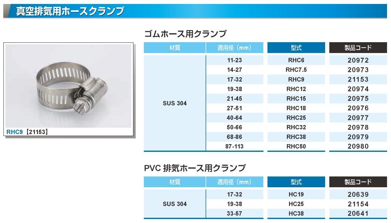 PVC38用 SUS304ホースクランプ カタログ画像