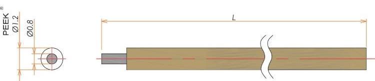 接続部品 真空側 PEEK®被覆ケーブル AWG#21 多ピン用 L=1000 寸法画像