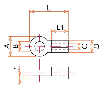 真空用圧着端子 M2 無酸素銅 10個/パック 寸法画像
