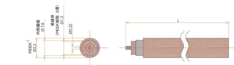 接続部品 真空側 PEEK®被覆ケーブル AWG#28 同軸用 L=1000 寸法画像