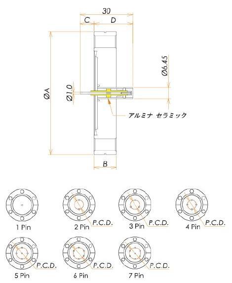 同軸 LM-00R 4個付き ICF70 フランジ 寸法画像