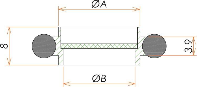 NW50 SUS/Viton 10メッシュセンタリング 寸法画像
