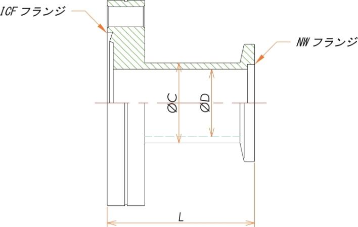 ICF152/NW50 変換ニップル 寸法画像