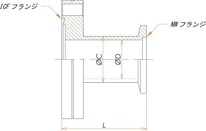 ICF203/NW40 変換ニップル 溶接品 寸法画像