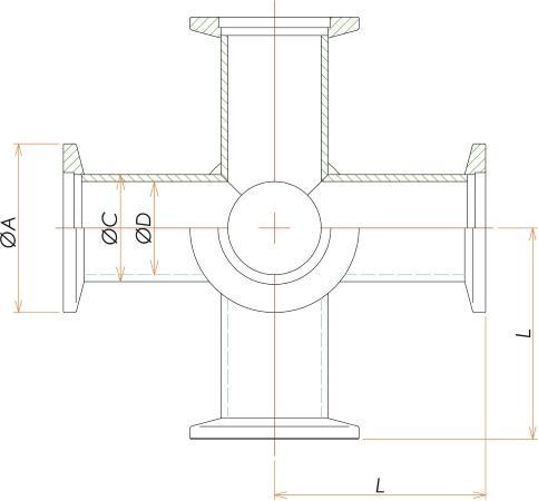 NW40 6方クロス 寸法画像