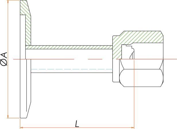 NW25+1/4インチ めすVCRアダプタ 寸法画像