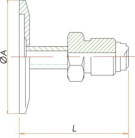 NW16+1/2インチ おすVCR®アダプタ 寸法画像
