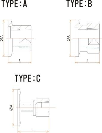 NW16+1/4インチ テーパー めすねじ 寸法画像