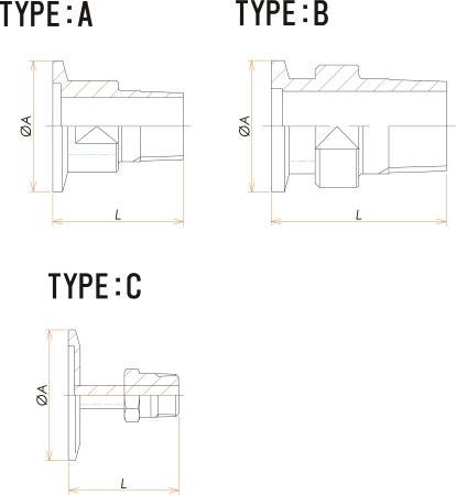 NW16+1/2インチ テーパー おすねじ 寸法画像