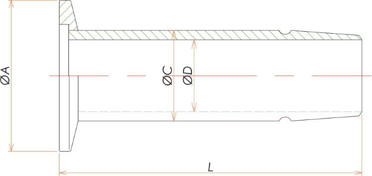 NW16 ゴム管アダプタ φ19 寸法画像
