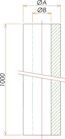 φ50×φ100 真空ゴムホース 1m 寸法画像