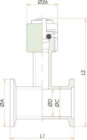 NW25 ニップルリークポート(リークバルブ) 寸法画像