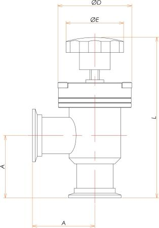 NW25 手動L型ベローズバルブ 寸法画像