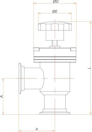 NW40 手動L型ベローズバルブ 寸法画像