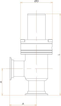 NW40 圧空式L型ベローズバルブ 寸法画像
