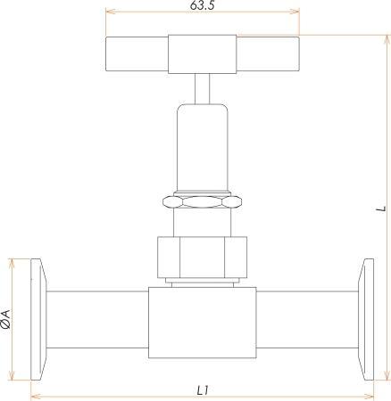 NW16 手動ストレート型ベローズバルブ 寸法画像
