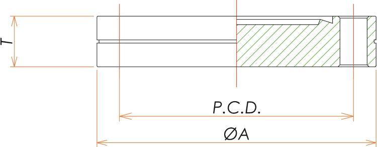 ICF34 固定ブランクタップフランジ 寸法画像