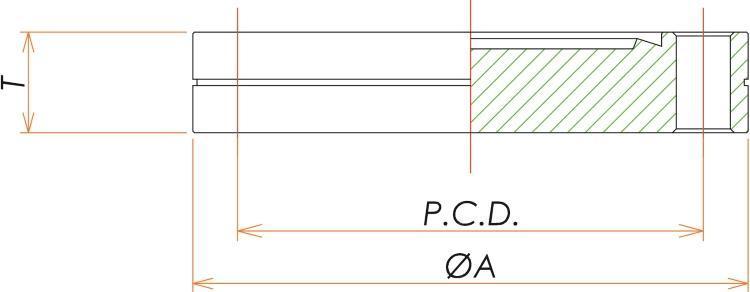 ICF203 固定ブランクフランジ SUS316LN 寸法画像