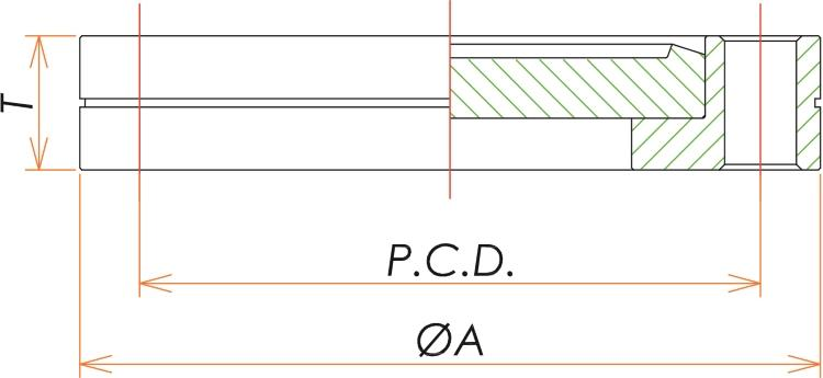 ICF34 回転ブランクフランジ 寸法画像
