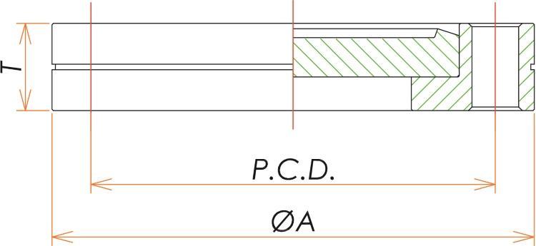 ICF34 回転ブランクタップフランジ 寸法画像