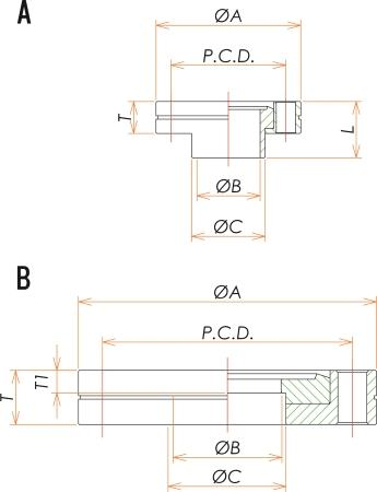 ICF70 回転34穴あきフランジ 寸法画像