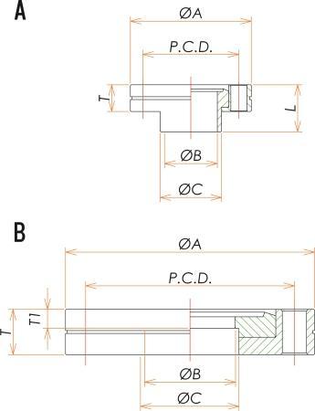 ICF70 回転42.7穴あきフランジ 寸法画像