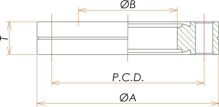 ICF34 固定両面エッジ16穴あきフランジ 寸法画像