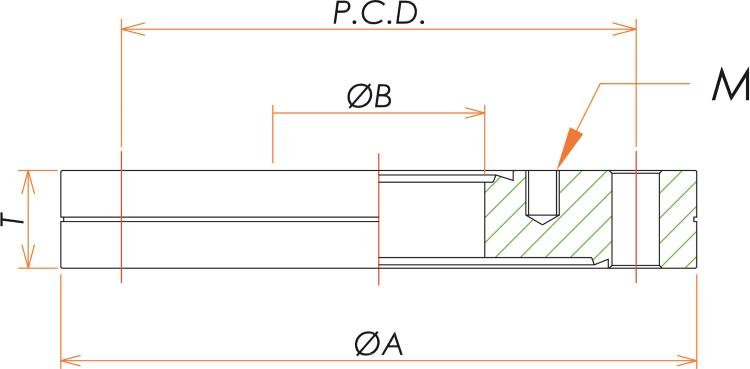 ICF70/34 ゼロレングス変換フランジ 寸法画像