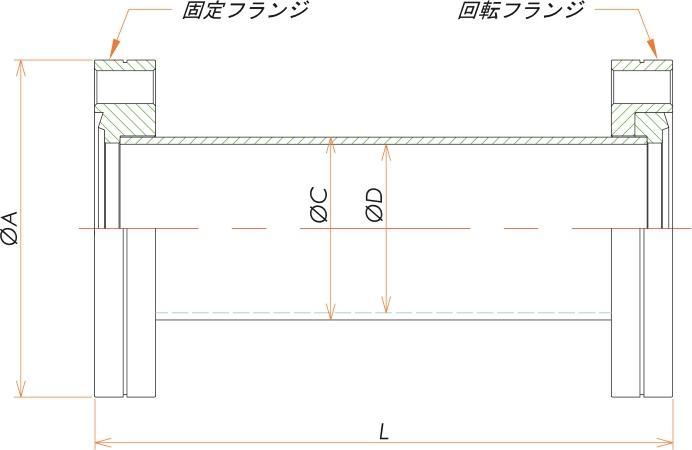 ICF70 ニップル 片側回転 寸法画像