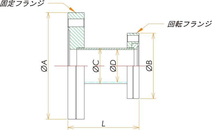ICF70/34 変換ニップル 片側回転 寸法画像