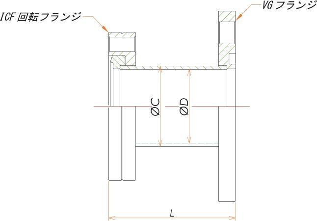 ICF34/VG10 変換ニップル 寸法画像