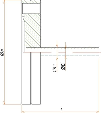 ICF70+1/4インチ チューブアダプタ 寸法画像