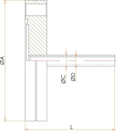 ICF70+1/2インチ チューブアダプタ 寸法画像