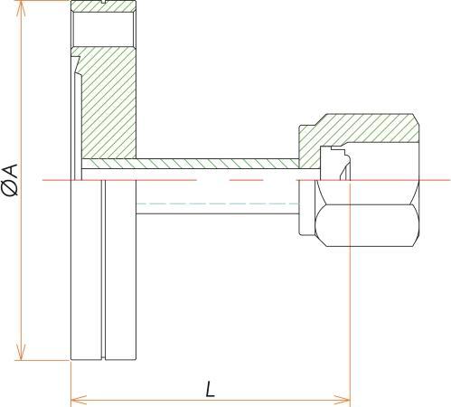 ICF70+1/4インチ めすVCR®アダプタ 寸法画像