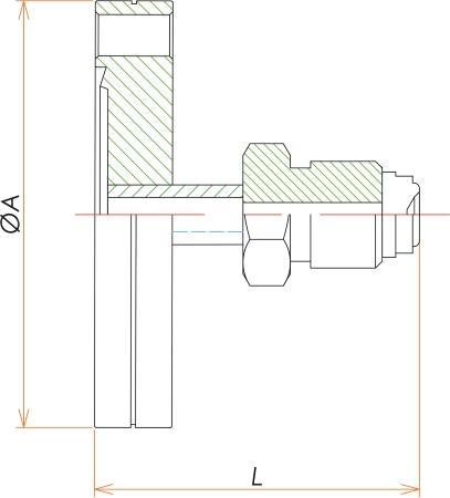 ICF34+1/4インチ おすVCR®アダプタ 寸法画像