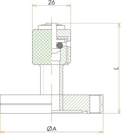 ICF34 リークポート(リークバルブ) 寸法画像