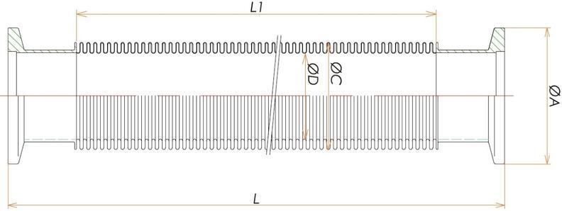 NW40 フレキシブルチューブ L=2500 寸法画像