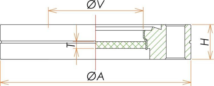 ICF70 コバール®ガラス ビューポート 寸法画像