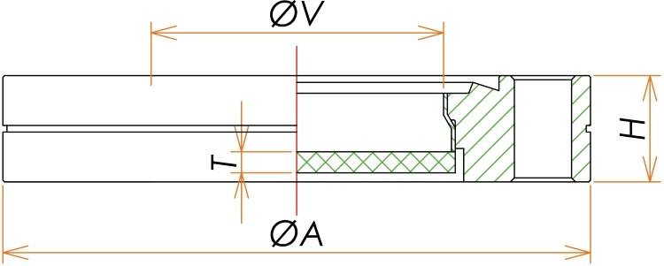 ICF34 石英 ビューポート UVグレード 寸法画像