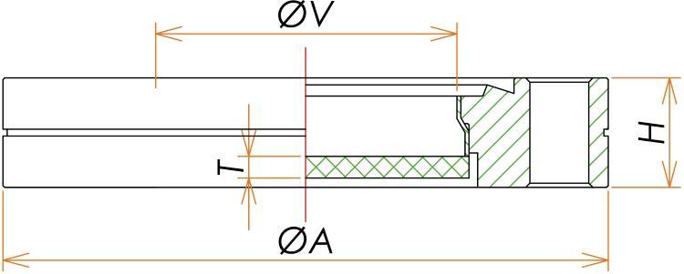 ICF203 石英 ビューポート UVグレード 寸法画像