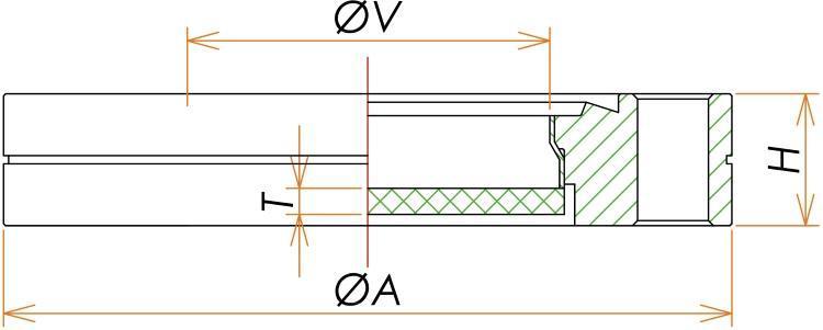 ICF253 石英 ビューポート UVグレード 寸法画像