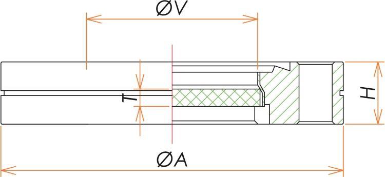 ICF152 弗化カルシウムビューポート 紫外光 寸法画像