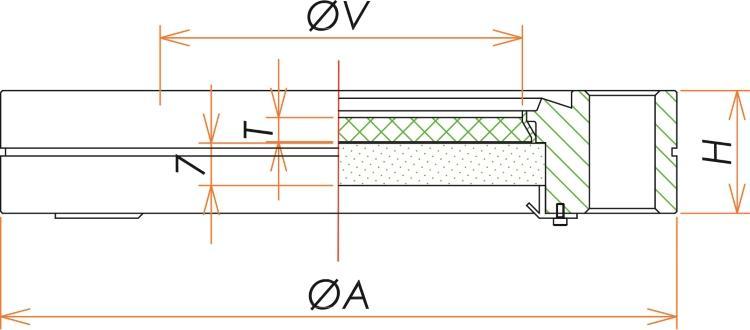ICF152 X線遮蔽用鉛ガラス付ビューポート 寸法画像
