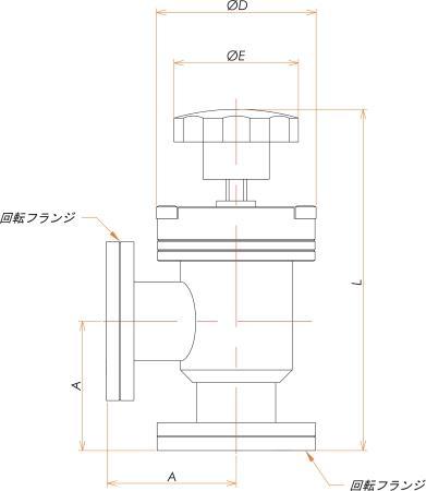 ICF34 手動L型ベローズバルブ 寸法画像