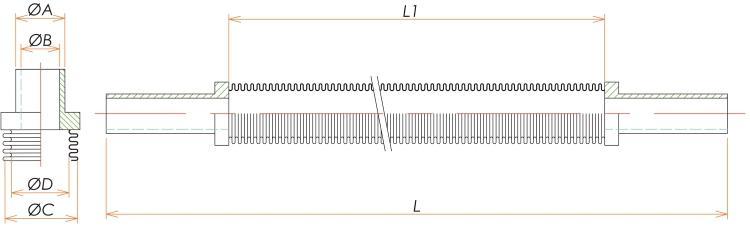 チューブエンド1/4 フレキシブルチューブ L=750 寸法画像